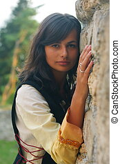 beau, cheveux, pierre, femme, mur, jeune, long, sombre, ancien, historique, rugueux, robe