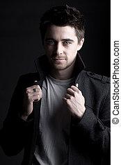 beau, cheveux sombre, mâle, à, barbe barbiche