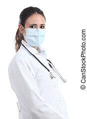 beau, chirurgien, femme, masque, docteur