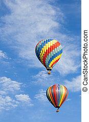 beau, ciel bleu, contre, air, chaud, profond, ballons