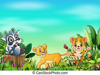 beau, ciel bleu, dessins animés, animal, jardins