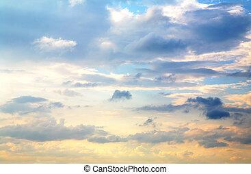 beau, ciel coucher soleil