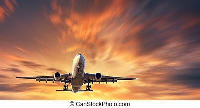 beau, ciel, effet, ternissure mouvement, avion