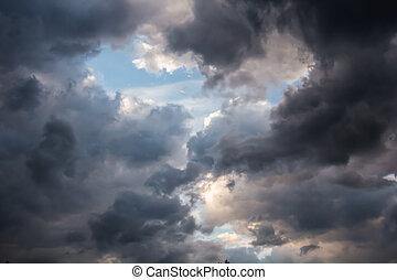 beau, ciel, nuages, sombre, orage, apocalypse