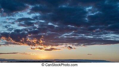 beau, ciel, nuages, timelapse, coucher soleil