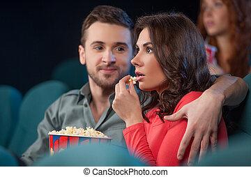 beau, cinéma, film, couple, regarder, jeune, cinema.