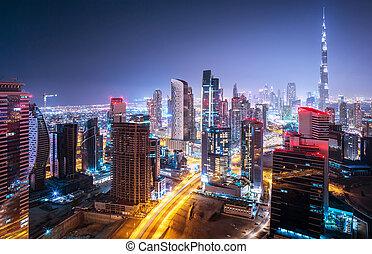 beau, cityscape, nuit