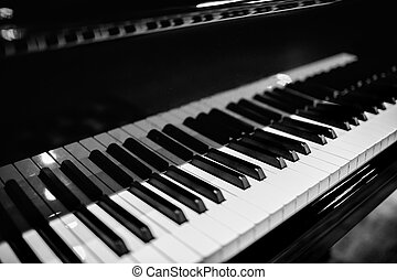 beau, clés, gros plan, piano