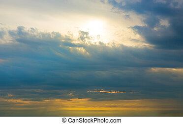 beau, clair, coucher soleil