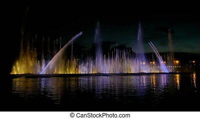 beau, clair, fontaine, reflet, coloré