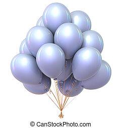 beau, classique, ballons, décoration, fête, blanc, hélium, tas