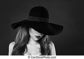 beau, classique, chapeau noir, portrait, modèle, blanc