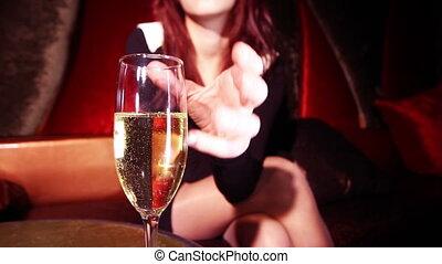 beau, classique, club, épingle-augmentez, vip, girl, champagne, boire