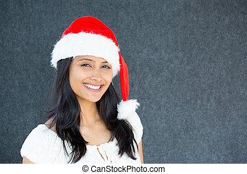 beau, claus, femme, chapeau, santa