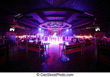 beau, club, intérieur, européen, nuit