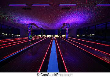 beau, club, intérieur, sombre, allées, bowling, plusieurs