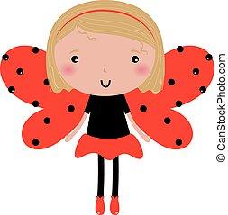 beau, coccinelle, pointillé, isolé, ailes, blanc, girl, rouges