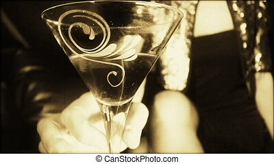 beau, cocktail, classique, club, épingle-augmentez, vip, girl, boire