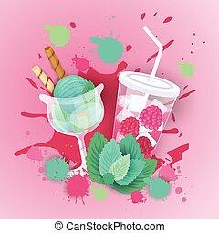 beau, cocktail, nourriture, doux, glace, logo, délicieux, dessert, frais, bannière, crème