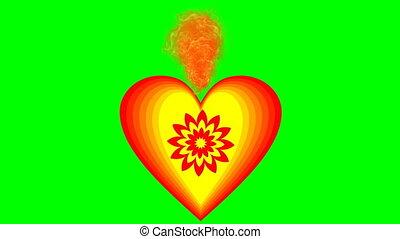 beau, coeur, amour, vif, brûlé, symbole, valentines, screen., gai, yellow., couleurs, animation, vert, video., jour, rouges