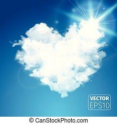 beau, coeur, ciel bleu, flamme, réaliste, vecteur, sun., soleil., nuage