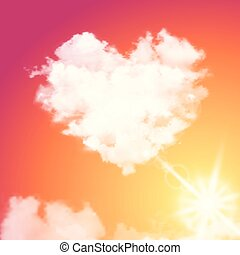 beau, coeur, ciel, flamme, réaliste, vecteur, coucher soleil, soleil., sun., nuage