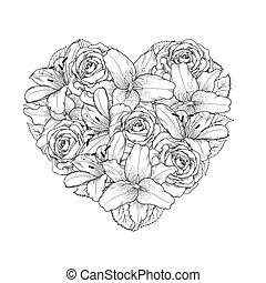 beau, coeur, décoré, par, fleurs, roses, et, lis, de, noir blanc, color., symbole, de, a, vacances, de, a, saint valentin st.