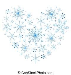 beau, coeur, fait, flocons neige, bleu, vecteur