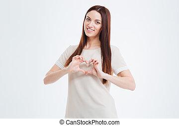 beau, coeur, femme, projection, jeune, doigts, sourire