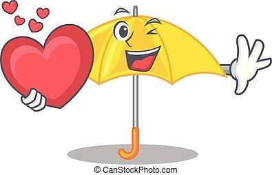 beau, coeur, parapluie, caractère, jaune, ouvert