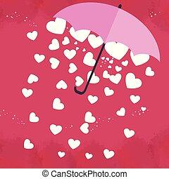 beau, coeur, parapluie, forvalentine's, salutation, arrière-plan., rose, blanc, jour, card.