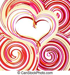 beau, coeur, résumé, fond