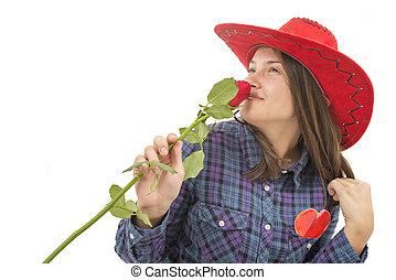 beau, coeur, rose, girl, chapeau, rouges