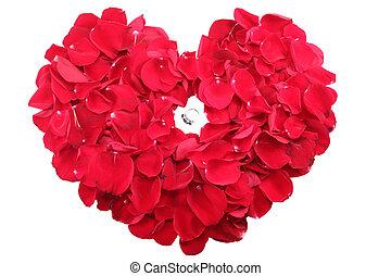 beau, coeur, roses, milieu, pétales, anneau, rouges