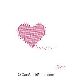 beau, coeur, simple, moderne, signe, healthcare, colors., design., style, arrière-plan., blanc, logo., rouges, plat, pulse., illustration, solitaire, monde médical, cardiogram., vecteur, pulsation, icon., ou