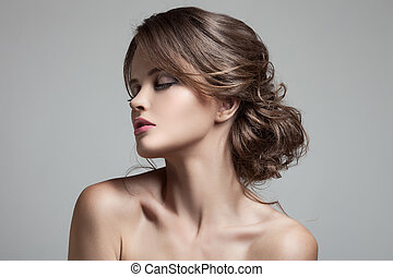 beau, coiffure, blonds, make-up., woman.