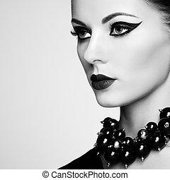 beau, coiffure, femme, élégant, portrait, sensuelles