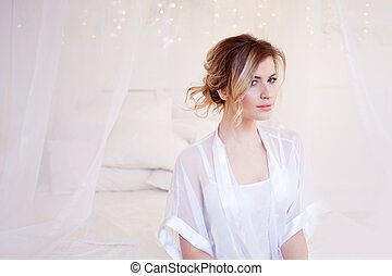 beau, coiffure, femme, romantique, maquillage, quotidiennement, ondulé, portrait, frais, modèle
