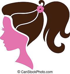 beau, coiffure, silhouette, isolé, femme, blanc
