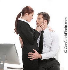 beau, collègue, sien, travail, jeune, toucher, collègues,...