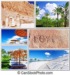 beau, collage, egypte, afrique.