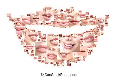 beau, collage, haut, coups, fin, sourire, femmes