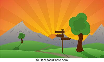 beau, collines, derrière, coucher soleil, paysage vert