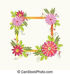 beau, coloré, cadre, isolé, élément, décoration, fond, floral, fleurs blanches
