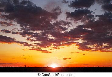 beau, coloré, ciel, sunrise., coucher soleil, pendant, ou