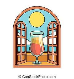 beau, coloré, cocktail, fenêtre, levers de soleil, vue, conception