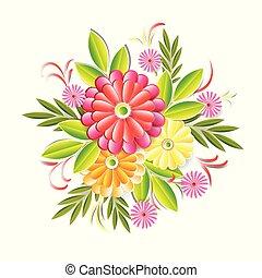 beau, coloré, isolé, élément, décoration, fond, floral, fleurs blanches