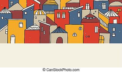 beau, coloré, main, maisons, village, dessiné, paysage