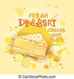 beau, coloré, nourriture, doux, frais, délicieux, dessert, gâteau, logo, bannière
