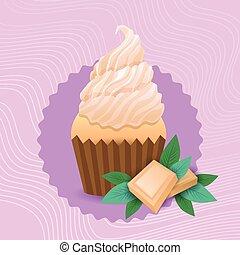 beau, coloré, nourriture, muffin, petit gâteau, délicieux, dessert, gâteau, doux